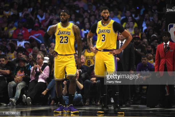LeBron James and Anthony Davis of the Los Angeles Lakers reacts as they trail the LA Clippers during the fourth quarter in a 112-102 Clippers win...