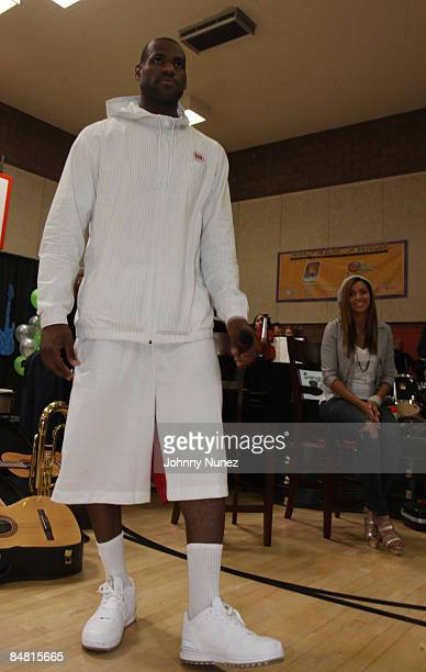 Lebron James and Beyonce attend the Sprite Green Instrument Donation on February 14 2009 in Mesa Arizona