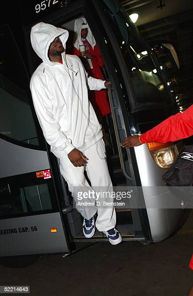 LeBron James and Carmelo Anthony of the Sophomore Team arrive at the Sophomore Team Practice for the got milk Rookie Challenge on Center Court of Jam...