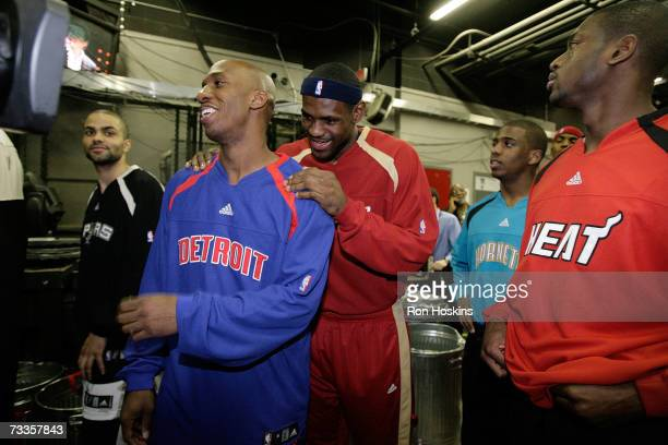 LeBron James and Chauncey Billups talk before the start of the Haier Shooting Stars at NBA All-Star Weekend on February 17, 2007 at the Thomas & Mack...