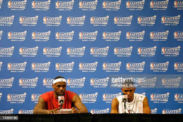 LeBron James and Daniel Gibson of the Cleveland Cavaliers speak to the media after defeating the Detroit Pistons in Game Four of the Eastern...