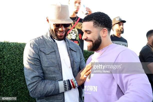 Lebron James and Drake attend the Drake And Lebron James Pool Party In Toronto For Caribana 2017 on August 5 2017 in Toronto Canada