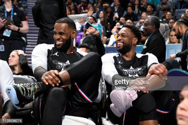 LeBron James and Dwyane Wade of Team LeBron react to a play during the game against Team Giannis during the 2019 NBA AllStar Game on February 17 2019...