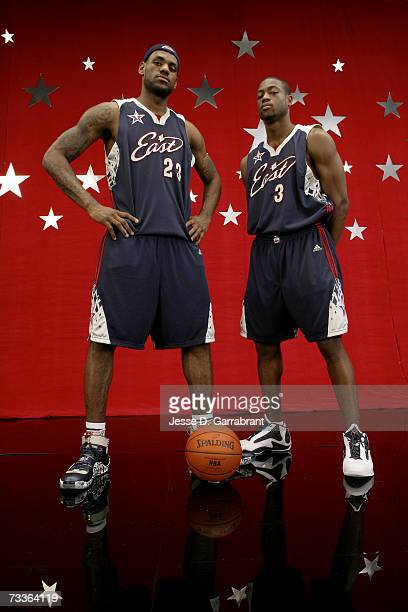 LeBron James and Dwyane Wade of the Eastern Conference All-Star pose for a portrait prior to the NBA All-Star Game at The Thomas & Mack Center...