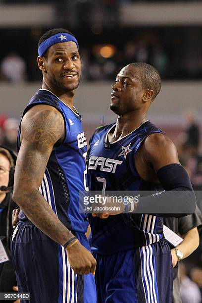 LeBron James and Dwyane Wade of the Eastern Conference celebrate their 141139 victory over the Western Conference during the NBA AllStar Game part of...