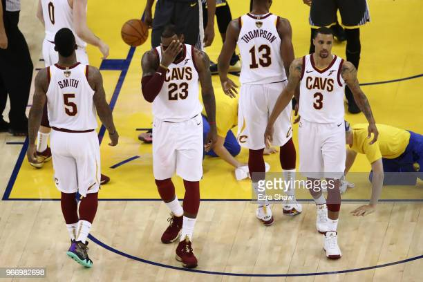 LeBron James and George Hill of the Cleveland Cavaliers reacts during the game against the Golden State Warriors during the second quarter in Game 2...