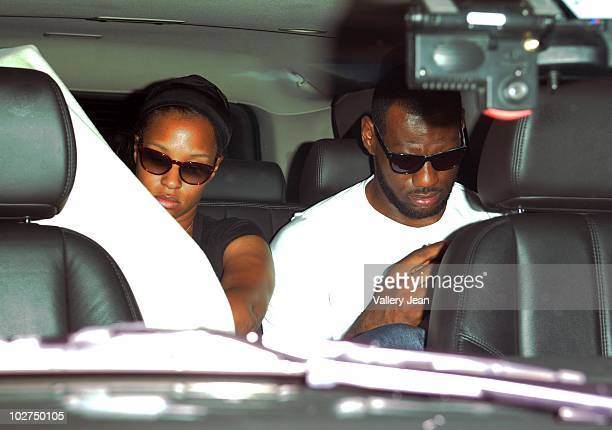 LeBron James and girlfriend Savannah Brinsonis seen arriving at a South Beach hotel shortly after announcing his decision to playing for the Miami...