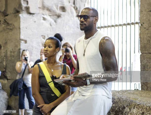 LeBron James and his new wife Savannah Brinson are spotted on their honeymoon at The Colosseum on September 18 2013 in Rome Italy