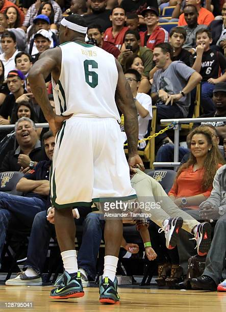 LeBron James and his son Bryce James participate in the South Florida AllStar Classic game at Florida International University on October 8 2011 in...