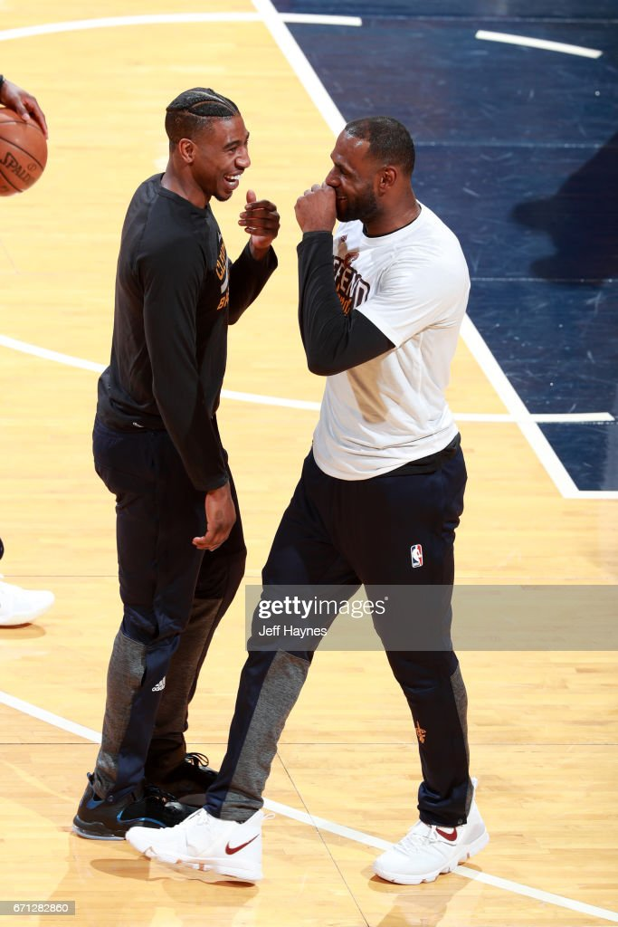 LeBron James #23 and Iman Shumpert #4 of the Cleveland Cavaliers talk before the game against the Indiana Pacers during Game Three of the Eastern Conference Quarterfinals of the 2017 NBA Playoffs on April 20, 2017 at Bankers Life Fieldhouse in Indianapolis, IN.