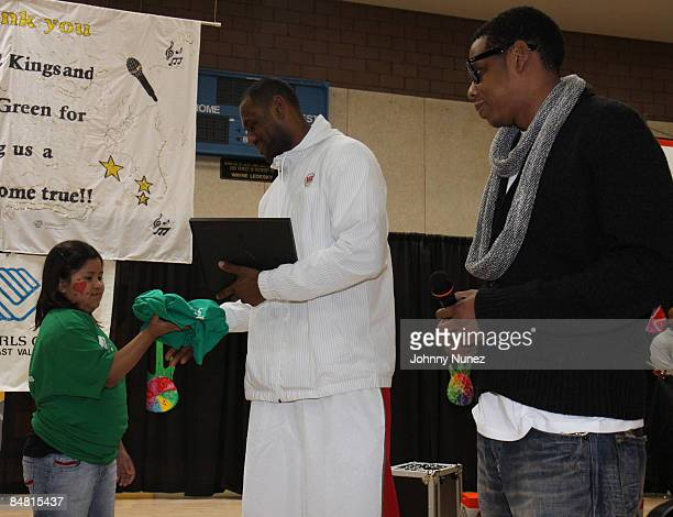 Lebron James and JayZ attend the Sprite Green Instrument Donation on February 14 2009 in Mesa Arizona
