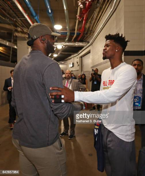 LeBron James and Jimmy Butler of the Eastern Conference All Star Team talk in the halls before NBA AllStar Practice as part of 2017 AllStar Weekend...