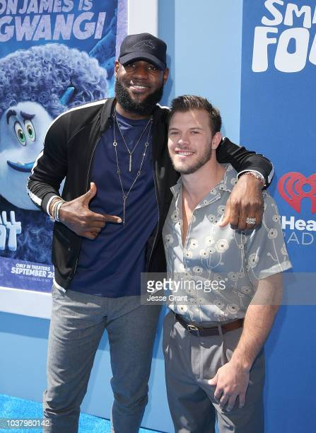 LeBron James and Jimmy Tatro attend the premiere of Warner Bros Pictures' Smallfoot at the Regency Village Theatre on September 22 2018 in Westwood...