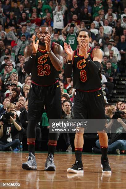 LeBron James and Jordan Clarkson of the Cleveland Cavaliers celebrate during the game against the Boston Celtics on February 11 2018 at TD Garden in...