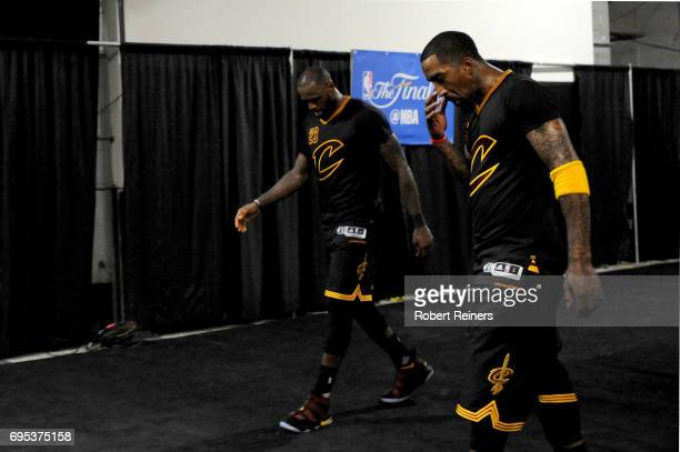 LeBron James and JR Smith of the Cleveland Cavaliers walk to the locker room following their 129120 loss in Game 5 to lose the 2017 NBA Finals to the...
