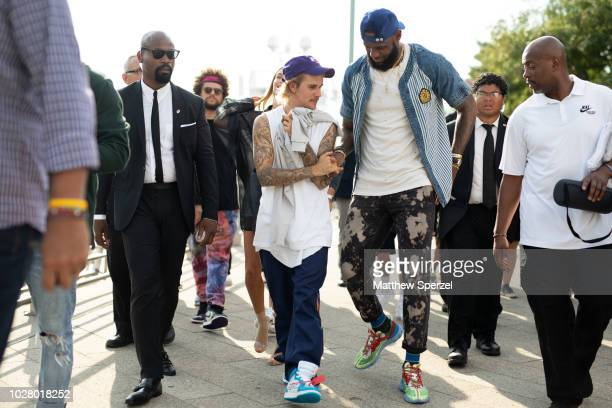 LeBron James and Justin Bieber are seen on the street attending John Elliott during New York Fashion Week SS19 on September 6 2018 in New York City