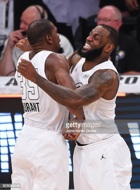 LeBron James and Kevin Durant of Team LeBron celebrate after winning the NBA AllStar Game 2018 at Staples Center on February 18 2018 in Los Angeles...