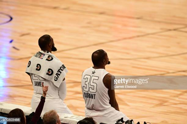LeBron James and Kevin Durant of Team LeBron look on against Team Stephen during the NBA AllStar Game as a part of 2018 NBA AllStar Weekend at...