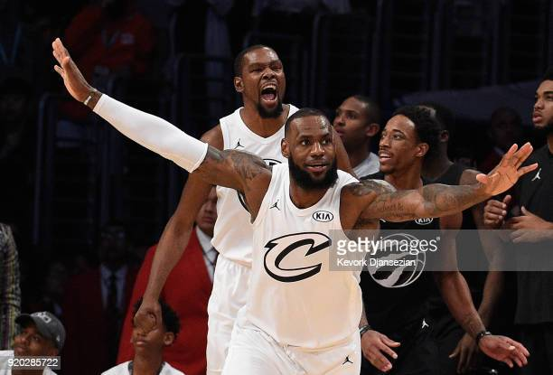 LeBron James and Kevin Durant of Team LeBron react after a missed last second shot by DeMar DeRozan of Team Stephen during the NBA AllStar Game 2018...