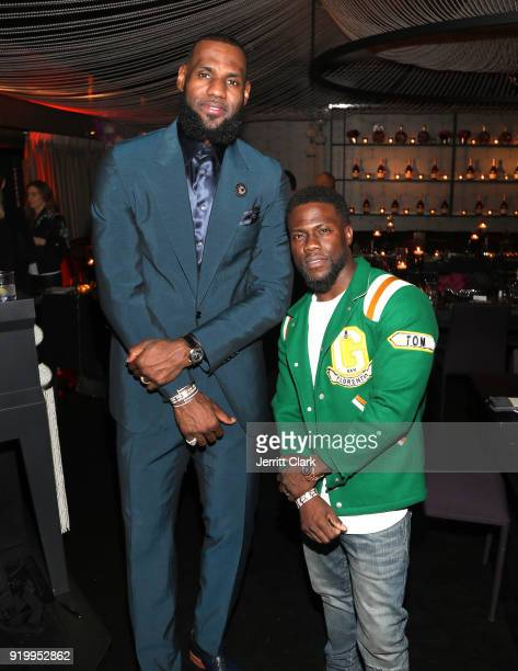 Lebron James and Kevin Hart attend the Klutch Sports Group More Than A Game Dinner Presented by Remy Martin at Beauty Essex on February 17 2018 in...