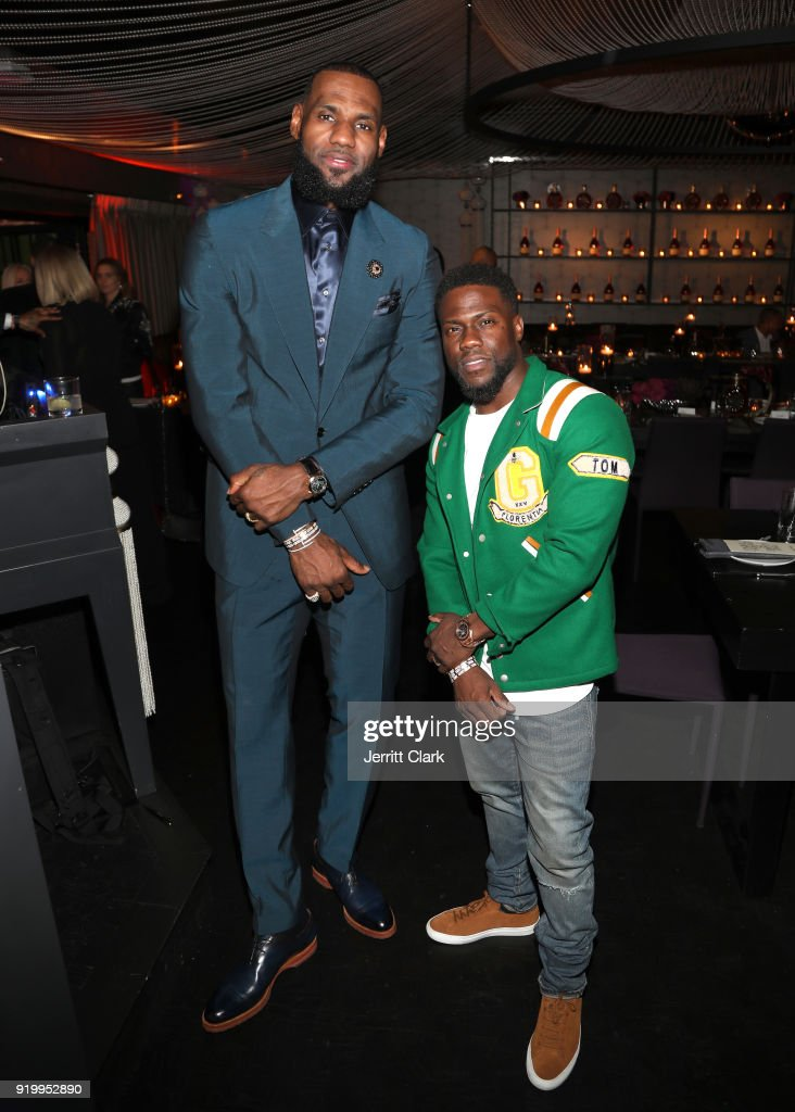 Lebron James and Kevin Hart attend the Klutch Sports Group 'More Than A Game' Dinner Presented by Remy Martin at Beauty & Essex on February 17, 2018 in Los Angeles, California.