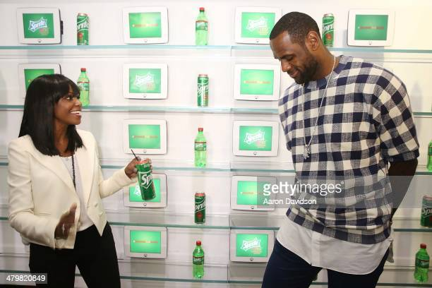 LeBron James and Kimberly Paige Associate Vice President Sprite Brands CocaCola North America introduce Sprite 6 Mix by LeBron James during a launch...