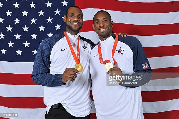 LeBron James and Kobe Bryant of the United States pose with their gold medals after winning the men's gold medal at the 2008 Beijing Olympic Games...