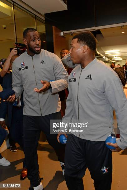 LeBron James and Kyle Lowry of the Eastern Conference AllStar Team before the NBA AllStar Game as part of the 2017 NBA All Star Weekend on February...