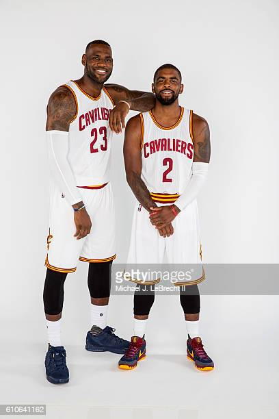 LeBron James and Kyrie Irving of the Cleveland Cavaliers poses for a portrait during 20162017 Cleveland Cavaliers Media Day at the Cleveland Clinic...