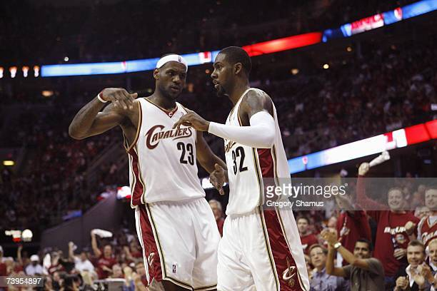 LeBron James and Larry Hughes of the Cleveland Cavaliers celebrate in Game One of the Eastern Conference Quarterfinals against the Washington Wizards...