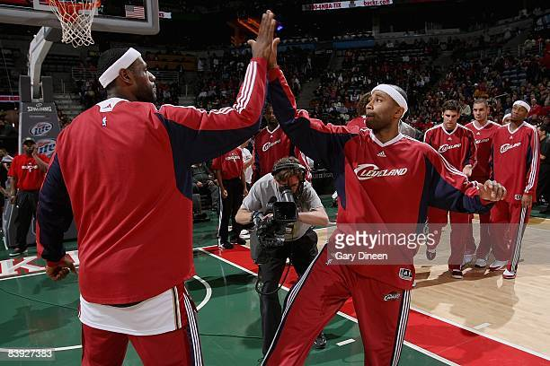 LeBron James and Mo Williams of the Cleveland Cavaliers celebrate before the game against the Milwaukee Bucks on November 29 2008 at the Bradley...