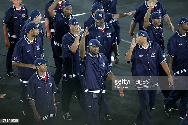 LeBron James and other Members of the United States' Olympic team during the Parade of Nations at the Opening Ceremonies of the Athens 2004 Olympic...