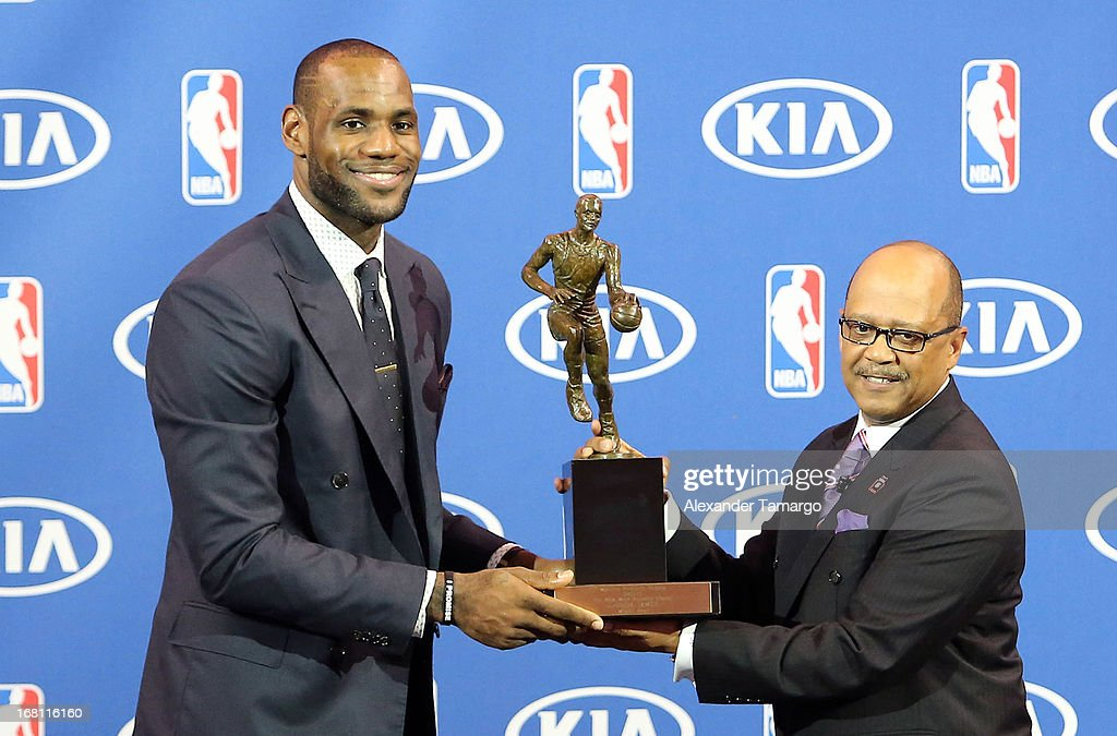 LeBron James and Percy Vaughn attend the LeBron James press confernece to announce his 4th NBA MVP Award at American Airlines Arena on May 5, 2013 in Miami, Florida.