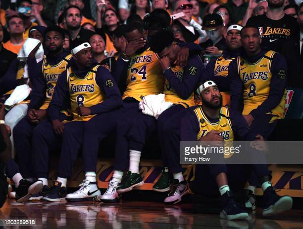 Lebron James and Quinn Cook cry during the Los Angeles Lakers pregame ceremony to honor Kobe Bryant before the game against the Portland Trail...