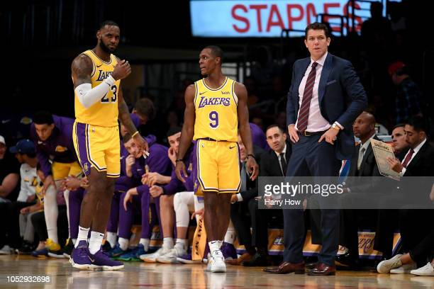 LeBron James and Rajon Rondo and Luke Walton of the Los Angeles Lakers react during a 124115 loss to the Houston Rockets at Staples Center on October...