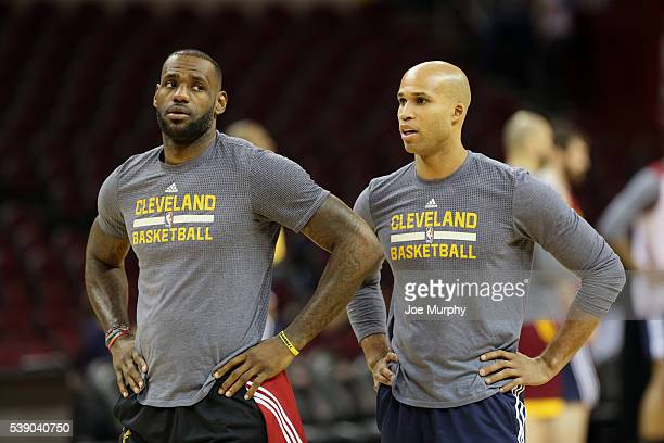LeBron James and Richard Jefferson of the Cleveland Cavaliers during practice and media availability as part of the 2016 NBA Finals on June 9 2016 at...