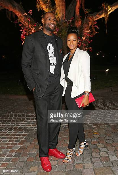 LeBron James and Savannah Brinson attend the Miami HEAT Family Foundation night of 'Motown Revue' on February 27 2013 in Miami Florida