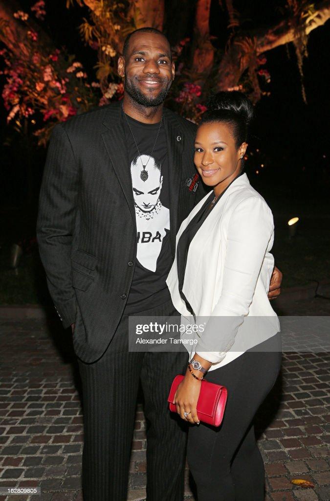LeBron James and Savannah Brinson attend the Miami HEAT Family Foundation 'Motown Revue' on February 27, 2013 in Miami, Florida.