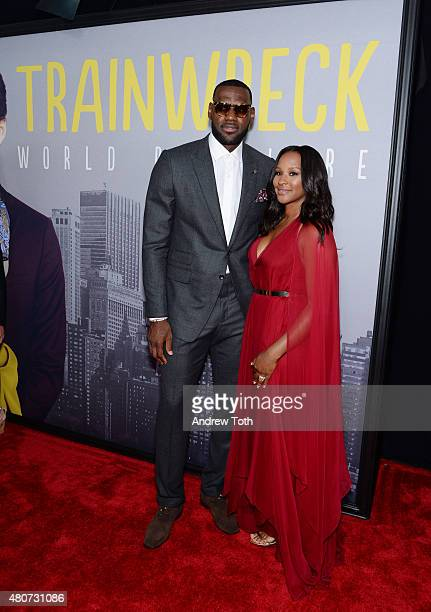 LeBron James and Savannah Brinson attend the 'Trainwreck' premiere at Alice Tully Hall on July 14 2015 in New York City
