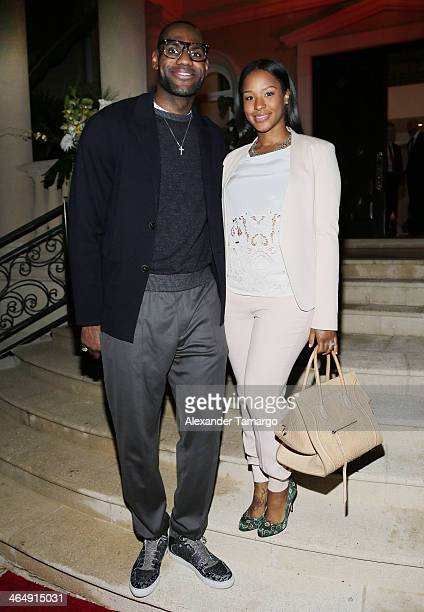 LeBron James and Savannah James attend the Miami Heat Family Foundation TaHEATi Beach Fundraising Event brought to you by Hublot on January 24 2014...
