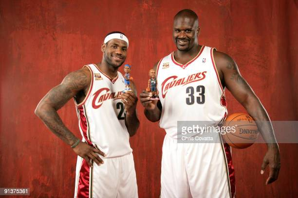 LeBron James and Shaquille O'Neal of the Cleveland Cavaliers poses for a portrait during 2009 NBA Media Day on October 3 2009 at the Cleveland Clinic...