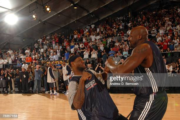 LeBron James and Shaquille O'Neal of the East All-Stars clown around during the 2007 East All Star Practice at NBA Jam Session Center Court on...