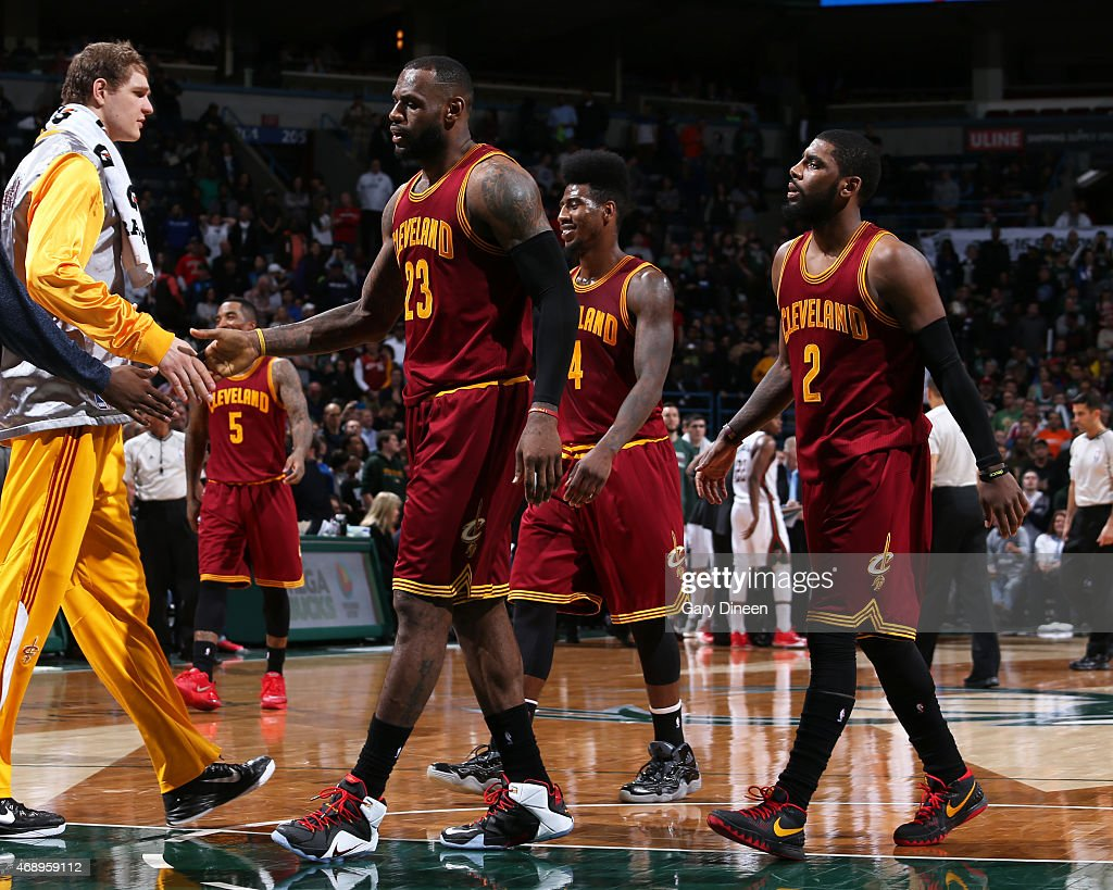 LeBron James #23 and the Cleveland Cavaliers during the game against the Milwaukee Bucks on April 8, 2015 at BMO Harris Bradley Center in Milwaukee, Wisconsin.