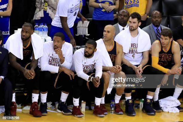 LeBron James and the Cleveland Cavaliers look on from the bench during their 11390 loss to the Golden State Warriors in Game 1 of the 2017 NBA Finals...