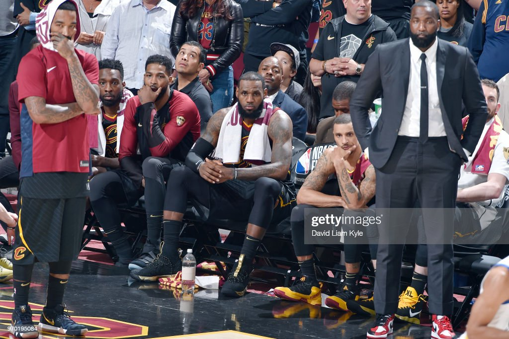 OH - LeBron James #23 and the Cleveland Cavaliers look on in disbelief as the Golden State Warriors successfully sweep the Cleveland Cavaliers in Game Four of the 2018 NBA Finals on June 8, 2018 at Quicken Loans Arena in Cleveland, Ohio.