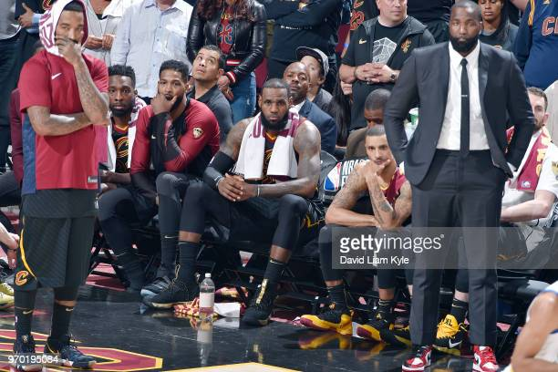 OH LeBron James and the Cleveland Cavaliers look on in disbelief as the Golden State Warriors successfully sweep the Cleveland Cavaliers in Game Four...
