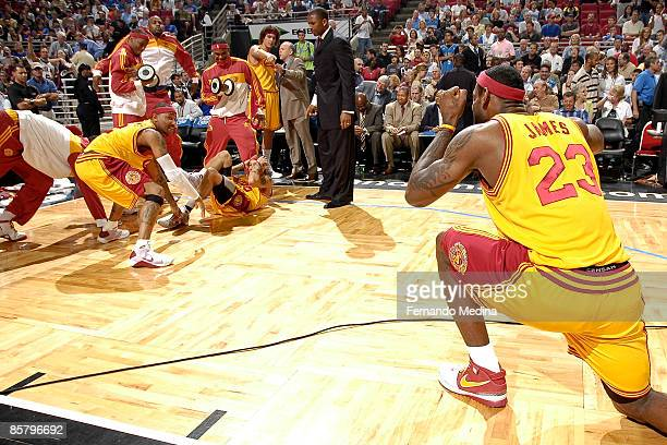 LeBron James and the Cleveland Cavaliers perform their pregame antics against the Orlando Magic on April 3 2009 at Amway Arena in Orlando Florida...
