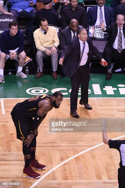 LeBron James and Tyronne Lue of the Cleveland Cavaliers react during the game against the Boston Celtics on Game Five of the 2018 NBA Eastern...