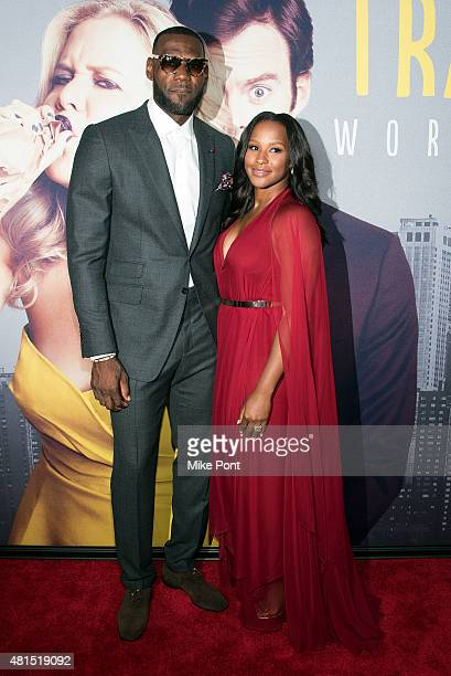 LeBron James and wife Savannah Brinson attend the Trainwreck New York Premiere at Alice Tully Hall on July 14 2015 in New York City