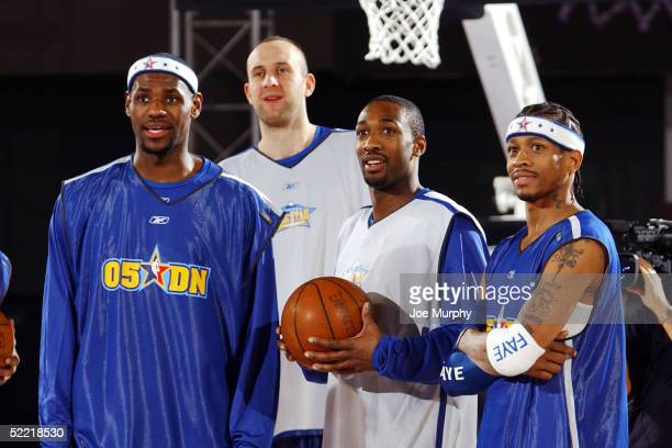 Lebron James and Zydrunas Ilgauskas of the Cleveland Cavaliers Gilbert Arenas of the Washington Wizards and Allen Iverson of the Philadelphia 76ers...